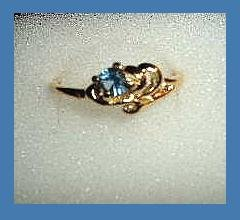 Lovely Round Cut London Blue Topaz CZ & Ocean Wave Design Gold Tone Ring