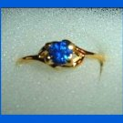 Gorgeous Round Cut Blue SAPPHIRE CZ & Open Sided Design Gold Tone Ring