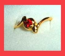 Beautiful Round Cut Blood Red RUBY CZ & Twisted Sister Design Gold Tone Ring