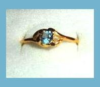 Lovely Round Cut London Blue Topaz CZ & Open Sided Design Gold Tone Ring