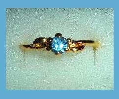 Sparkling Round Cut London Blue Topaz CZ & Delicate Design Gold Tone Ring