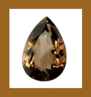 16.00ct SMOKY QUARTZ Pear 19x14mm Faceted Loose Gemstone - 100% Natural Real Genuine