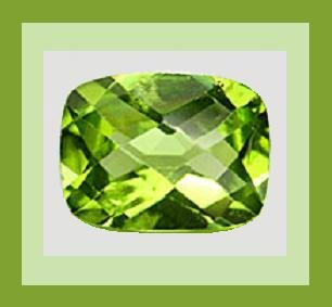 PERIDOT 1.10ct Cushion Checkerboard 8x5mm Natural Faceted Loose Gemstone