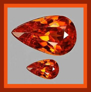 0.68ctw Lot of 2 Dark Orange SPESSARTITE MANDARIN GARNET Pear Faceted Natural Loose Gemstones