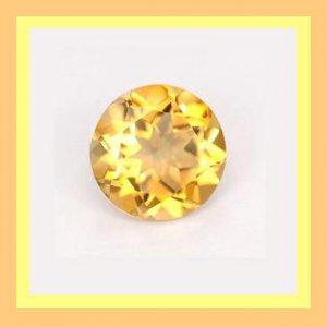 0.96ct Yellow Orange CITRINE Round Brilliant Cut 7mm Faceted Natural Loose Gemstone