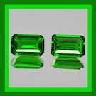 1.06ctw Pair of 2 CHROME DIOPSIDE Emerald Cut Dark Green 5x3mm Faceted Natural Loose Gemstones