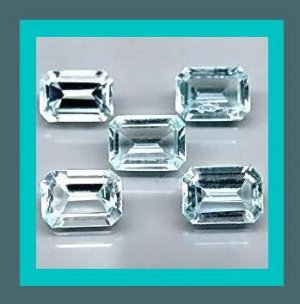 3.87ctw Lot of 5 AQUAMARINE Emerald Cut Faceted Natural Loose Gemstones