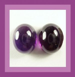 6.55ctw Pair of 2 AMETHYST Oval 10x8mm Purple Cabochon Natural Loose Gemstones