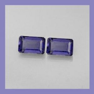 0.77ctw Pair of 2 Purple-Blue IOLITE 6x3mm Emerald Cut Faceted Natural Loose Gemstones