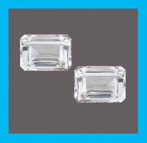 2.86ctw Pair of 2 WHITE ZIRCON Emerald Cut 7x5mm Faceted Natural Loose Gemstones