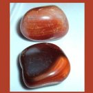 Lot of 2 Dark Brown Orange Peach CARNELIAN Tumbled and Polished Natural Loose Gemstones