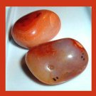 Lot of 2 Orange Brown CARNELIAN Tumbled and Polished Natural Loose Gemstones