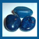 Lot of 3 Dyed DARK BLUE AGATE Tumbled and Polished Natural Loose Stones