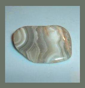 White Gray Tan BANDED AGATE 0.95 x 0.7 inch Tumbled and Polished Natural Loose Gemstone