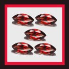 3.50ctw Lot of 5 Sparkling Red GARNET Marquise Cut 7x4mm Faceted Natural Loose Gemstones