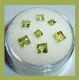 1.95ctw Lot of 7 Green PERIDOT Square Cut Faceted Natural Loose Gemstones