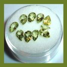 3.80ctw Lot of 10 Green PERIDOT Pear Cut Faceted Natural Loose Gemstones
