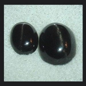 4.40ctw Lot of 2 BLACK STAR DIOPSIDE Oval Cabochon Natural Loose Gemstones