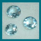 2.40ctw Lot of 3 SWISS BLUE TOPAZ Round Cut Faceted Natural Loose Gemstones