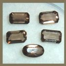 1.25ctw Lot of 5 SMOKY QUARTZ Oval and Emerald Cut Faceted Natural Loose Gemstones