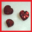 1.71ctw Lot of 3 Red GARNET Heart Shape Faceted Natural Loose Gemstones