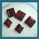 3.30ctw Lot of 5 Red GARNET Square Cut Faceted Natural Loose Gemstones