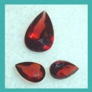 1.50ctw Lot of 3 Red GARNET Pear Cut Faceted Natural Loose Gemstones