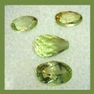 3.15ctw Lot of 4 Green PERIDOT Briolette and Oval Cut Faceted Natural Loose Gemstones