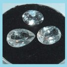 4.30ctw Lot of 3 WHITE TOPAZ Oval and Pear Cut Faceted Natural Loose Gemstones