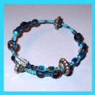 "Blue and Silver Beads 9"" inch wrap around Wire Bracelet"