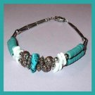 Turquoise, White Shell and Silver Beads 7.5 inch Sterling Silver Bracelet