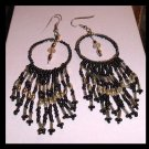 "Chandelier Black, Silver, and White Beaded 4"" inch Fish Hook Earrings"