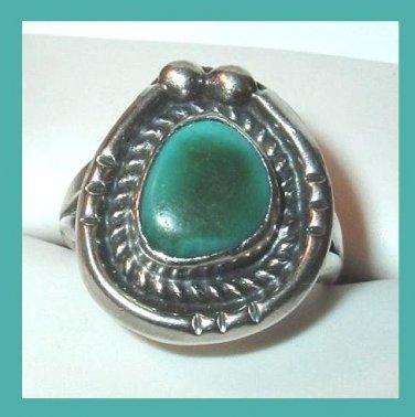 Vintage Arizona Turquoise Horseshoe Shape Sterling Silver Ring