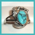 Vintage Arizona Turquoise Oval Shape Sterling Silver Ring