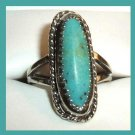 Vintage Arizona Blue-Green Turquoise Marquise Shape Sterling Silver Ring