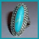 Vintage Arizona Turquoise Marquise Shape Sterling Silver Ring