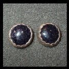 Vintage Black Titanium Druzy Sterling Silver Post Earrings