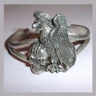 Vintage Eagle and Skull Silver Cuff Bracelet