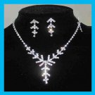 White Rhinestone Arrow Shape Necklace and Dangle Post Earrings Silver-Gilt Set