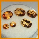 3.70ctw Lot of 6 Orange and Yellow CITRINE Oval Round Faceted Natural Loose Gemstones