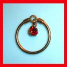 Dangling Round RED GARNET in a Circle Gold Bracelet Charm