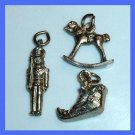 Lot of 3 Bracelet Charms Silver plated Santa Claus & Pewter Toy Soldier & Rocking Horse
