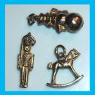 Lot of 3 Bracelet Charms Snowman & Toy Soldier & Rocking Horse