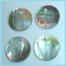 Lot of 4 Round Silver White & Brown Sea Shell Bracelet Charms