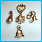 Lot of 5 Gold & Pearl Bracelet Charms - Heart - Flower - Bell - Tear Drop - Letter R