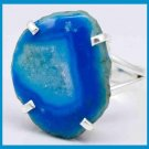 BLUE TEAL GEODE DRUZY GEMSTONE 925 STERLING SILVER DRUSY RING