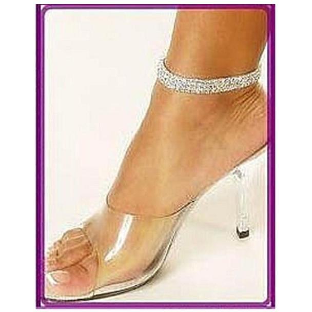 3 Row Crystal Rhinestone Silver Anklet