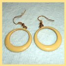 Vintage Yellow Round Circle Gold Tone Dangle Hook Earrings