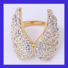 18k Yellow Gold White Cubic Zirconia Wings design Ring