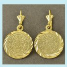 9K Yellow Gold COIN 1.5 Inch Dangle Earrings
